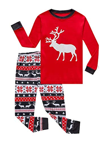 IF Pajamas Christmas Little Girls Boys Pjs 100% Cotton Long Sleeve Kid Reindeer Pajamas Sets Size 7 Red ()