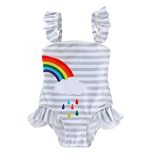 Baby Girls Sister Ruffle Stripe Swimsuit Twins Matching Swimwear Rainbow Print Bathing Suit Onesie (Right, 3-4 Years) (Best Friend Bathing Suits)