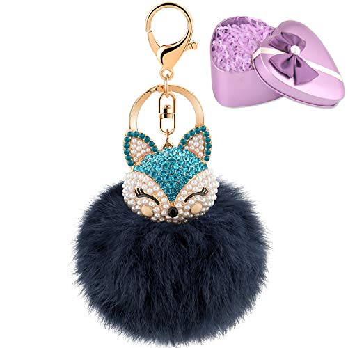 JOUDOO Fluffy Fur Ball Keychain With Gift Box Fox Head Pom Pom Keyring GJ020 (navy blue) ()