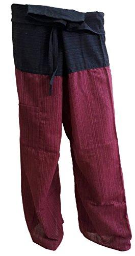 PAPAYA SHOP Thai Fisherman Pants Yoga Trousers stripe 2 Tone Black and Red