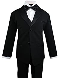 Toddler Boys' 5 Piece Classic Fit Formal Suit Bowtie Set