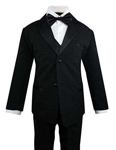 Luca Gabriel Toddler Boys' 5 Piece Classic Fit Formal Suit Bowtie Set, Black, 5