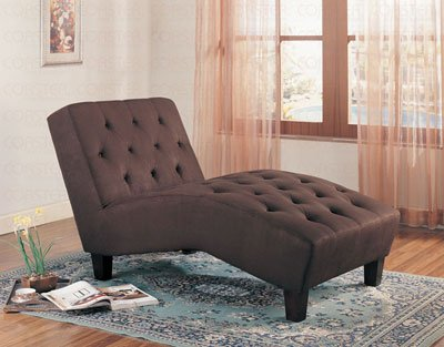 Chaise Lounge with Button Tufted in Chocolate Fabric