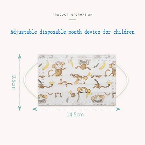 Face_mask 3 Ply Non-Woven and Breathable,Cute Cartoon 50Pcs Face Bandanas with Cute Printing,Anti-Haze Dust,for Kids