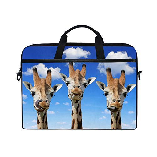 MAHU Laptop Sleeve Case Bag Animal Giraffe Print Messenger Bag Travel Briefcase with Shoulder Strap for 14-14.5 inch MacBook Air MacBook Pro