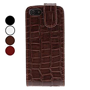 Mini - Crocodile Skin Flip-On Style Full Body Case for iPhone 5/5S - Color , White