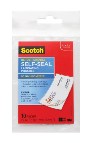 (Scotch Repositionable Self-Seal Laminating 2.4 x 3.8 Inches Pouch, Business Card Size, 10 Pouches LSR851-10G))
