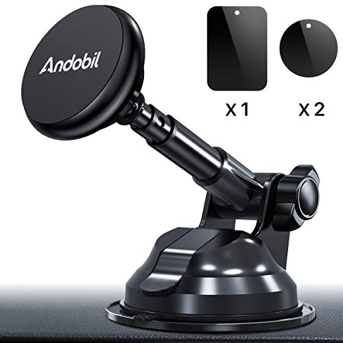 3 Shelf Security Trucks - Andobil Magnetic Phone Car Mount, Ultimate Hands-Free Phone Holder for Dashboard Windshield, Upgrade Strong Metal Telescopic Long Arm and Super Suction Cup for All Smartphone and Mini iPad