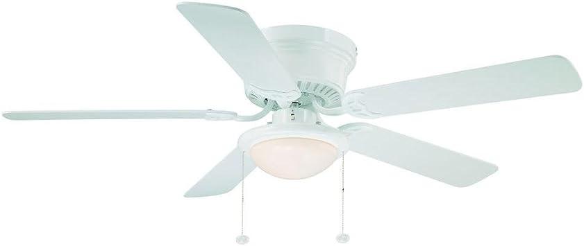 Hampton Bay Hugger 52 en. Color blanco ventilador de techo con luz: Amazon.es: Iluminación