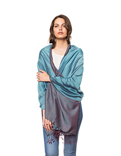 Invisible World Silk Blend Two Tone Nepalese Water Shawl Scarf Turquoise Maroon
