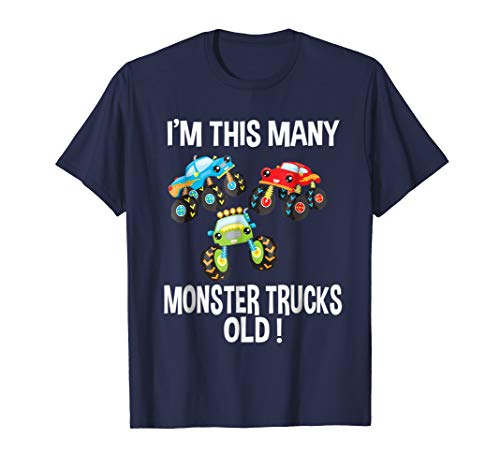 Birthday Shirt For Boys 3 I'm This Many Monster Trucks Old