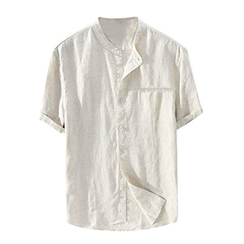 Corriee Mens Cotton Linen T-Shirt Comfy Baggy Button Down SOID Color Short Sleeve Blouses Summer Tops for Men Khaki