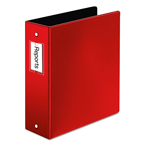Cardinal Premier Easy Open Locking Round Ring Binder, 3-Inch, Red with Label Holder  (18848) - Label Sleeve Round Ring Binder