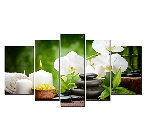 Youkuart9802 ,5panel Spa with Bamboo and Plumeria Wall Art Painting the Picture Print on Canvas -Flower Pictures for Home Decor (Bamboo&plumeria) (Flower Spa)