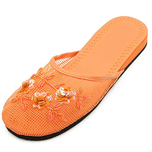 Cammie Women's Floral Beaded Mesh Orange Chinese Slippers 10 B(M) US