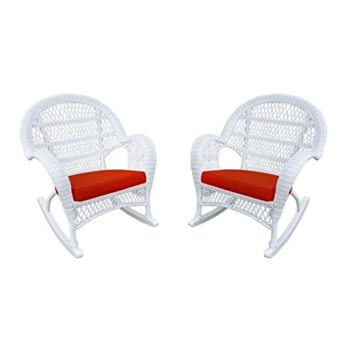 Jeco Wicker Rocker Chair in White with Red Cushion (Set of 4)