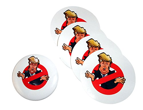 "4 Anti-Trump 3.5"" Stickers Plus Bonus 3"" Pinback Button. Funny Political Donald Trump Memorabilia."
