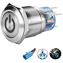 "Quentacy 19mm 3/4"" Latching Push Button Switch 12V DC 5A 250V AC LED Power Symbol ON-OFF Waterproof Toggle Switch Stainless Steel Shell with Wire Connector Plug(Blue light)"