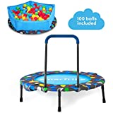 smarTrike Indoor Toddler Trampoline with Handle, Ball Pit with 100 Balls Included, Foldable Kids Trampoline, 1-5 Years