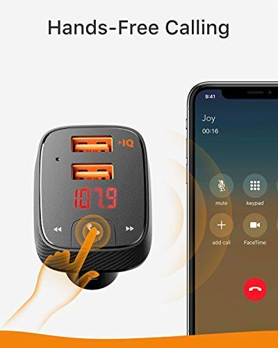 Anker Roav SmartCharge F2 Bluetooth FM Transmitter, Wireless Audio Adapter and Receiver, Car Charger...