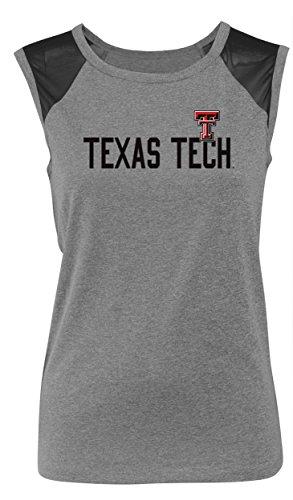 Camp David Sleeveless Mesh Panel Tee, Large, Black Htr,Texas Tech Red Raiders (Sleeveless Shirt Tech)