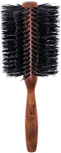 Spornette Italian 3 Inch Round Double Density Boar Bristle Brush (#955-XL) with Wooden Handle for Styling, Volumizing, Finishing, Straightening & Curling Medium, Long, Normal Hair, Extensions & Wigs