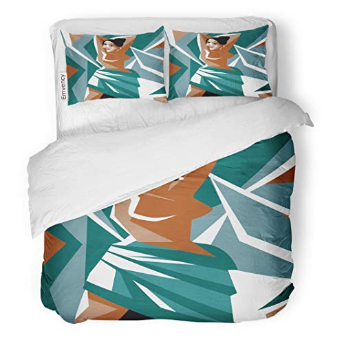 Semtomn Decor Duvet Cover Set Full/Queen Size Artist Cubist Woman Painting Avignon Brothel Cartoon Cubism Dadaism 3 Piece Brushed Microfiber Fabric Print Bedding Set Cover