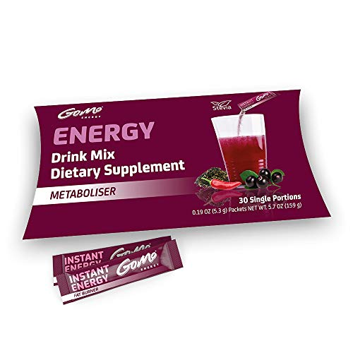 GoMo Energy® Sugar Free Fat Burner Energy Drink | L-Carnitine, Acai Powder, Green Tea Extract, Caffeine, Vitamin C & B Vitamins | Thermogenic Energy Powder Drink Mix | METABOLISER 30 Servings