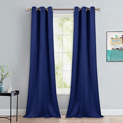 (NICETOWN Window Drapes Long Curtains - Living Room Panels Grommet Top Window Treatment for Hall & Guest Room (Royal Navy Blue, 42
