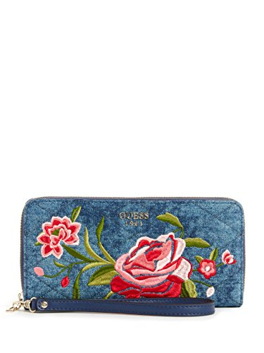 GUESS Heather Denim Floral Zip-Around Wallet