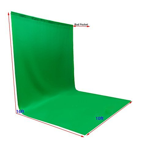 ePhotoInc Large Photo Video Photography Studio 10ft x 16ft Green Chromakey Chroma Key Muslin Backdrop Background Screen 1016G by ePhoto