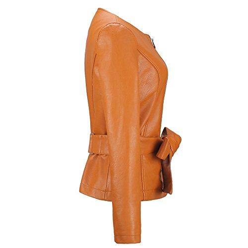 Moda Inverno Giallo Giovane Giubbotto Vintage Collo Moto Zip Women Giacche Grazioso Lunga Finta Manica Casual Con Corto Pelle Cappotto Fit In Autunno Slim Rotondo Giacca Donna Cinghie qxFH7a