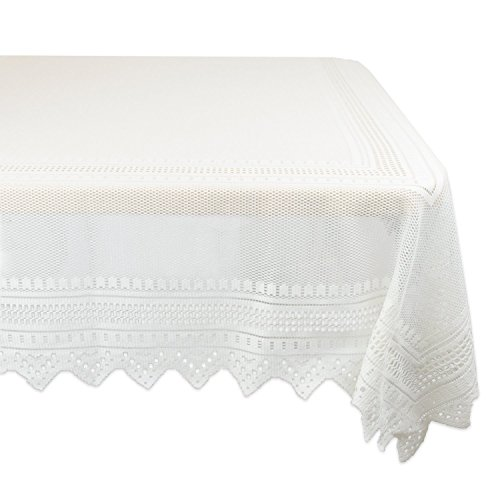 DII 100% Polyester, Machine Washable, Crochet/Lace Tablecloth, 52x90 Seats 6 to 8 People, Cream by DII