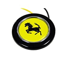Ferrari Steering Wheel Horn Button with Black Horse on Yellow Background Shield Crest Logo Hood Badge for 512 308 458 599 328 GTS GTO GTB M Dino 612 F430 360 550 355 F1 Spyder Mondial TS Modena F1 Scuderia Spider Challenge Testarossa