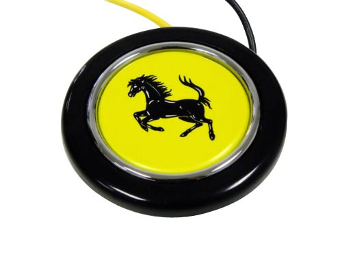 Gts Hood Shields - Ferrari Steering Wheel Horn Button with Black Horse on Yellow Background Shield Crest Logo Hood Badge for 512 308 458 599 328 GTS GTO GTB M Dino 612 F430 360 550 355 F1 Spyder Mondial TS Modena F1 Scuderia Spider Challenge Testarossa