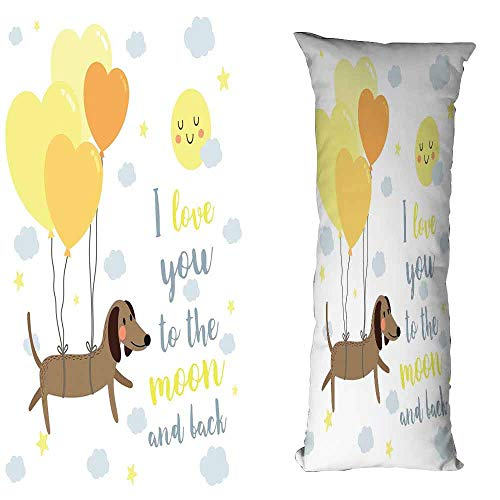DuckBaby Creative Pillowcase Love You Dog with Balloons and Concept Hearts Sun Clouds Puppy Best Friends Wrinkle Resistance W16 xL23.5 Yellow Cocoa Blue Grey