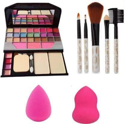 Angelie 6155 Makeup kit + 5 pcs Makeup Brush + 2 pc Blender Puff Combo
