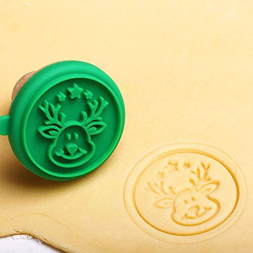 Ywillink Christmas 1Set Silicone DIY Cookie Stamp Fondant Mold Biscuit Embossing Cutters Sugar Craft Tool
