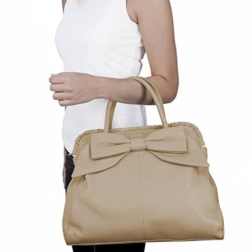 cm x chiaro borsa da 32 pelle vera mano 28 grande BACCINI borsa a donna borsa x Beige MILANO beige 15 w0qw67xUY
