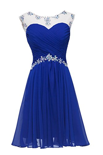 Beaded Ruched Bodice (Meledy Women's A Line Short Chiffon Beaded Ruched Bodice Sheer Straps Open Back Homecoming Dress Mini Party Gown Blue US4)