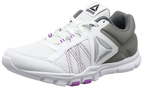 Reebok Bs8041, Zapatillas de Deporte para Mujer Blanco (White / Alloy / Vicious Violet)