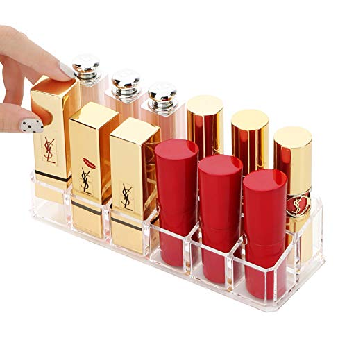 Sooyee 12 Compartments Clear Acrylic Small Lipstick and Lip Gloss Holder Makeup Brushes Nail Polish and Bottles Organizer Rack Highest Quality Cosmetic Display Cases Countertop 6.73 x 2.5 x 1.65 Inch