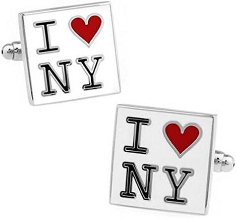 Wicemoon MenS Cufflinks Cuff Links I love New York Letters Shirt Studs Suit Cufflinks For Mens Business Wedding Party Cufflinks Gift Present