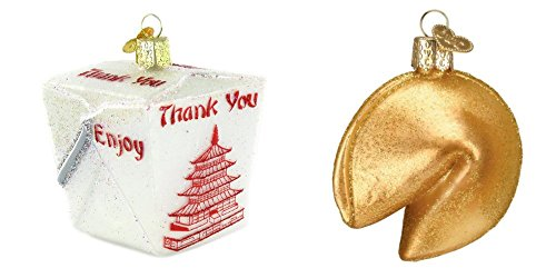 (Old World Christmas Chinese Take Out Box and Fortune Cookie Glass Blown Ornaments, Funny Chinese Food Lovers)