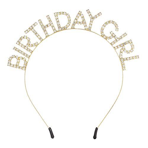 - DcZeRong Birthday Girl Headband Sweet Girls Birthday Princess Hair Band Rhinestone Hair Hoop Tiara