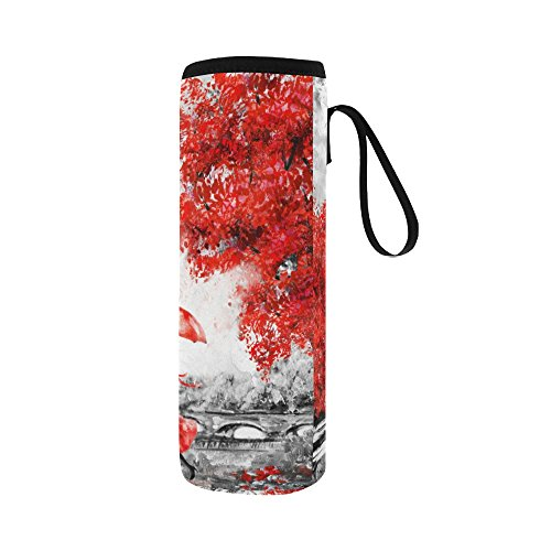 InterestPrint Eiffel Tower Lover Neoprene Water Bottle Sleeve Insulated Holder Bag 16.90oz-21.12oz, Paris Oil Painting Sport Outdoor Protable Cooler Carrier Case Pouch Cover with Handle by InterestPrint (Image #2)