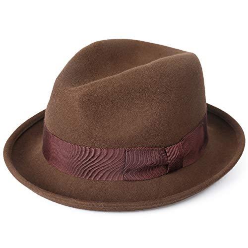 Janetshats Wool Felt Snap Brim Fedora Hat Men's Crushable Dress Trilby Jazz Cap 59CM