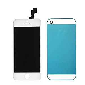 AMH White LCD Display & Touch Screen Digitizer Assembly + Greenish Blue Back Cover Housing with White Top & Bottom Glass Compatible with iPhone 5S A1533 /A1457/A1530 /A1453 /A1518 /A1528