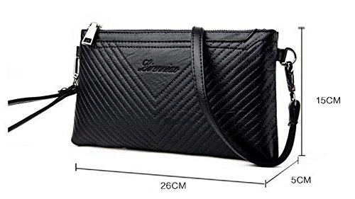 Cuir sacs à Mode Décontractée FBUFBD180882 Femme Noir Sacs Pu bandoulière Des Zippers AllhqFashion ZH0gq4