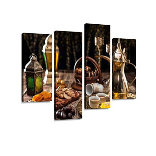 Traditional Arabian Coffee, Nuts and Sweets Canvas Wall Art Hanging Paintings Modern Artwork Abstract Picture Prints Home Decoration Gift Unique Designed Framed 4 Panel (Arabic Print)